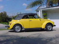 Yellow Super Beetle Convertible
